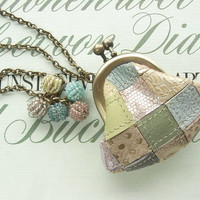 mini purse necklace - pastel leather patchwork, miniature purse, metallic and colorful, sparkle, quilting, bright and shiny