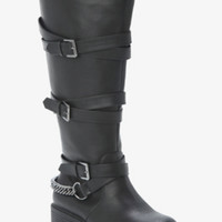 Buckle & Chain Tall Boots (Wide Width)