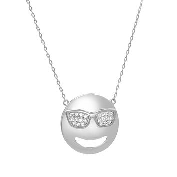 Cubic Zirconia Cool Sunglasses Emoji Pendant-Necklace in Sterling Silver on an 18 inch chain