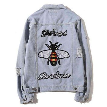 ONETOW GUCCI Fashion Bee  Embroidery Distressed Denim Cardigan Jacket Coat