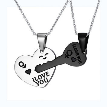 Fashion I Love You Matching Hearts Keys Couple Necklace Set 316L Stainless Steel 1 pair High Quality Jewelry 2016