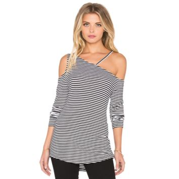 Stripe Long Sleeve Cutout Shirt