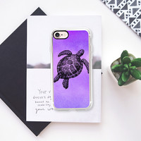 Sea Turtle Watercolor Purple iPhone 7 Case by Stephanie Denne | Casetify