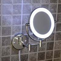 High Quality Brass Chrome Bathroom LED Cosmetic Mirror In Wall Mounted Mirrors Bathroom Accessories 2068B