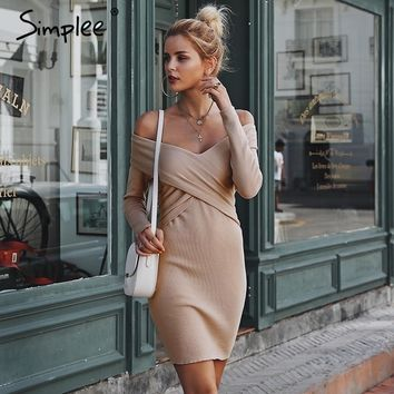 Simplee Off shoulder Criss Cross knitted women sweater dress V neck bodycon sexy dress 2019 Autumn winter dress ladies vintage