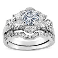 Engagement Ring - Diamond Bows & Flower Engagement Ring & Matching Wedding Band in White Gold - ES1055BS