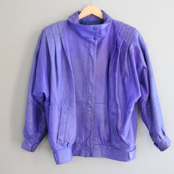Purple Leather Jacket Premium Genuine Leather Bomber 80s Purple Leather bomber Slouchy Bat wings Vintage  Size M - L