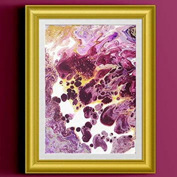 """Purple and White Abstract Fluid Painting Fine Art Print // """"Apricity"""""""