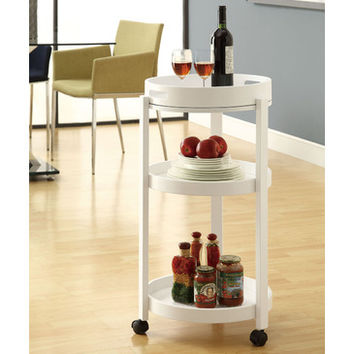 Monarch Specialties 3345 Round Bar Cart w/ Seving Tray on Castors in White