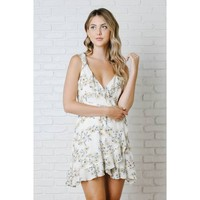 Cream and Yellow Floral Ruffled Wrap Dress - No Rest for Bridget