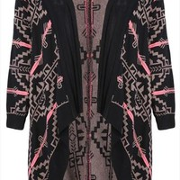 Black And Mocha Aztec Waterfall Cardigan With Pink Highlight plus size 16,18,20,22,24,26,28,30,32