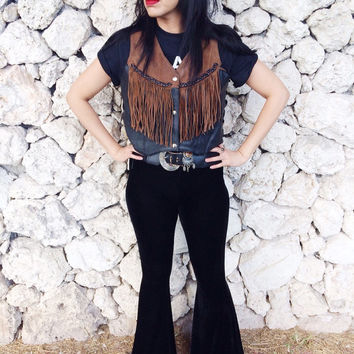 Vintage 80s Black & Brown Leather Western Fringe Vest w/ Concho Corset Laces M // L