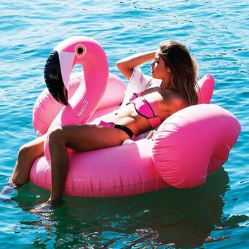 Giant Inflatable Flamingo Pool Float 150CM 60 Inch Pink Ride-On Swimming Ring Adults Children Water Holiday Party Toys Piscina