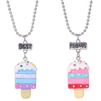 BFF Jewelry 2pcs/Set Best Friends Charm Soft Ceramics Popsicle Pendants Necklace Food jewelry For Kids Ice-Cream Necklace