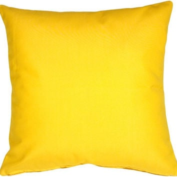 16x16 Solid Yellow Cotton Decorative Pillow Cover - 18 and 20 Inch Also Available