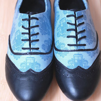 Made To Order- Doctor Who Damask Tardis Women's Oxfords-FREE matching bow