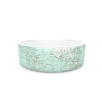 "Catherine Holcombe ""The Old World"" Blue Teal Pet Bowl"