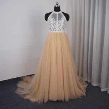 Wedding Dress Halter Bare Back Champagne Tulle Lace Appliqued Beaded