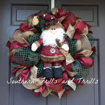 Christmas Wreath, Christmas Decor, Holiday Wreath, Santa Wreath, Primative Wreath, Burlap Wreath, Jute Wreath, Christmas Door Hanger