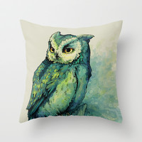 Green Owl Throw Pillow by Teagan White