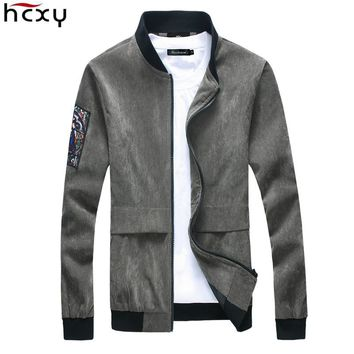 HCXY Brand Man Clothing 2016 New Casual Jacket Men Corduroy Velvet Slim High Collar Men's Jackets Spring And Autumn Male Coat