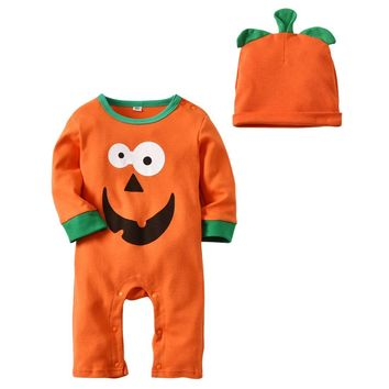 Autumn Clothing Set for Baby Boys Girls Cute Pumpkin Smile Face Baby Suit Halloween Infant Jumpsuit Baby Cotton Clothing Outfits