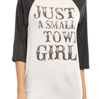 Plus Size Just A Small Town Girl Raglan Blouse in Charcoal (Pre-Order)