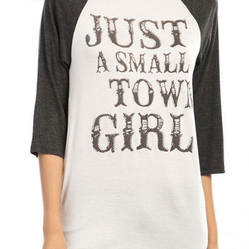 Plus Size Just A Small Town Girl Raglan Blouse in Charcoal (Pre-Order 12/7)