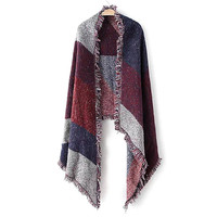Geo Print Fringed Scarf in Red and Blue