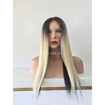 Ombre'  Blond Black Human Hair Blend Multi Parting Lace Front Wig - Gina
