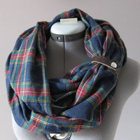 Navy and Red Flannel Soft Infinity Scarf