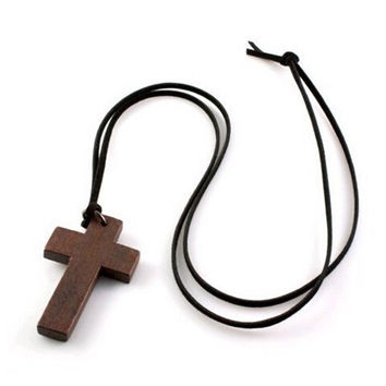 Special Price New Fashion Star Paragraph Wooden Cross Pendants Necklaces Black Leather Chain Necklaces For Women