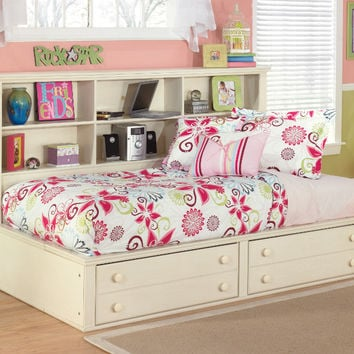 Ashley Furniture B213-85-05-90 Cottage retreat cream finish wood cottage style twin day bed with bookcase headboard