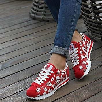 spring summer luxury brand women casual shoes,light originality skull heads print Cortez Hip hop woman flat shoes