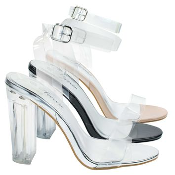 Excute25 Silver By Forever Link, Cinderella Perspex Lucite Clear Block Heel Sandal w T