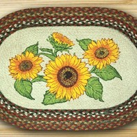 Sunflowers Oval Patch Rug