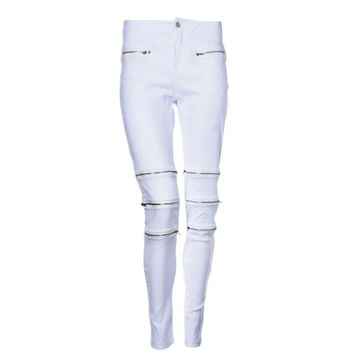 Newly Design Women's Causual Zipper Hollow Jeans Long Pants Tights