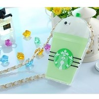 Mint Green White Black TPU Silicone Starbucks Cup Smart Phone Cover Case