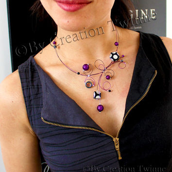 purple necklace, blackpolka dot necklace, unique design, bridal jewelry,funky necklace,bridesmaids gift ,mothers days gifts, wedding jewelry