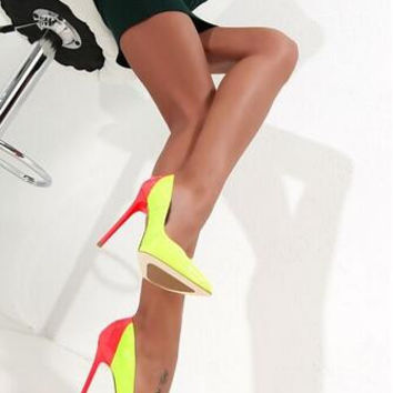 2016 Fall Celebrity Colorblock Yellow Shoes 14cm Sexy High Heels Pointed Toe Womens Dress Shoes Size 4-11 Fashion Ladies Shoes
