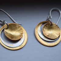 Two tone, Multi Ring Earrings, 24k Gold and Silver