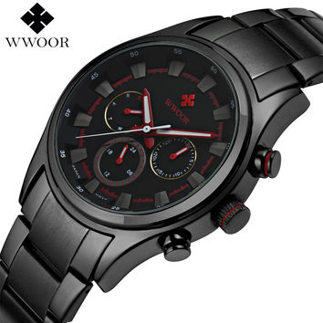 Top Brand Day Date 24 Hours Clock Luxury Waterproof Quartz Watch Men Sports Watches Male Black Steel Strap Military Wrist Watch