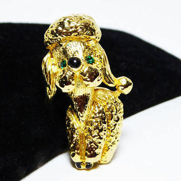 Playful Poodle Puppy Pin - Gold tone Dog Brooch with Green Rhinestone Eyes, Modern Vintage 1980s 1990s Canine Jewelry