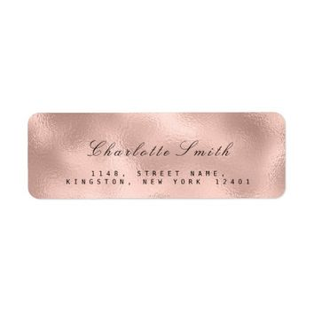 Minimalism Pink Rose Skinny Return Address RSVP Label