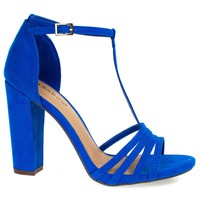 Limelight03M Blue By Bamboo, Toe Sandal, T-Strap Ankle Strap, Chunky Block Heel, Women Shoes