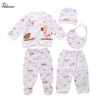 5pc Infant Boby Clothes Sets Cotton Newborn Baby clothes Sets Hat Tops Long Sleeve Pant Casual 0 3 Month boy girls