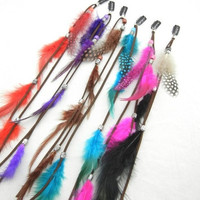 New Bohemian Women Ladies Real Feather Clips in on Hair Extensions Accessories
