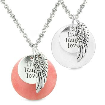 Guardian Angel Wing Live Laugh Love Inspirational Amulets Couples Set Pink White Quartz Necklaces