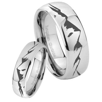 His Her Classic Mirror Dome Sound Wave I love you Tungsten Carbide Silver Rings Set