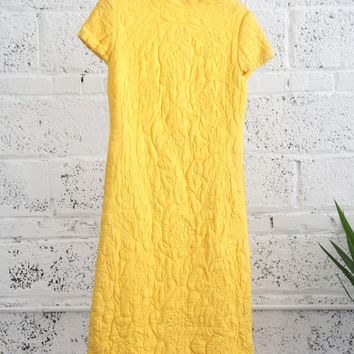 Trapunto-quilted High-neck Yellow Dynasty Dress